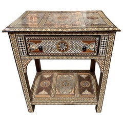 Syrian Mother of Pearl, Bone, and Ebony Inlaid Table