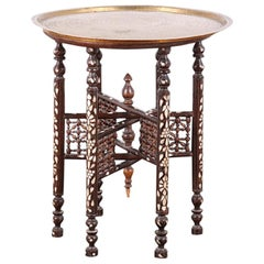 Syrian or Moorish Inlaid Mother of Pearl Six Legged Brass Top Side Table
