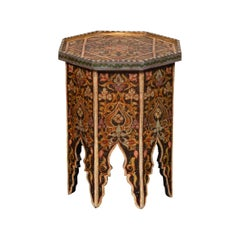 Syrian Vintage Moorish Style Octagonal Tray Top Side Table with Polychrome Décor
