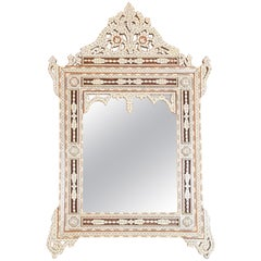 Syrian Wall Mirror Inlaid with White Mother of Pearl