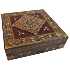 Syrian Walnut Wood Box Inlaid with Mother of Pearl and Cream Leather Lining