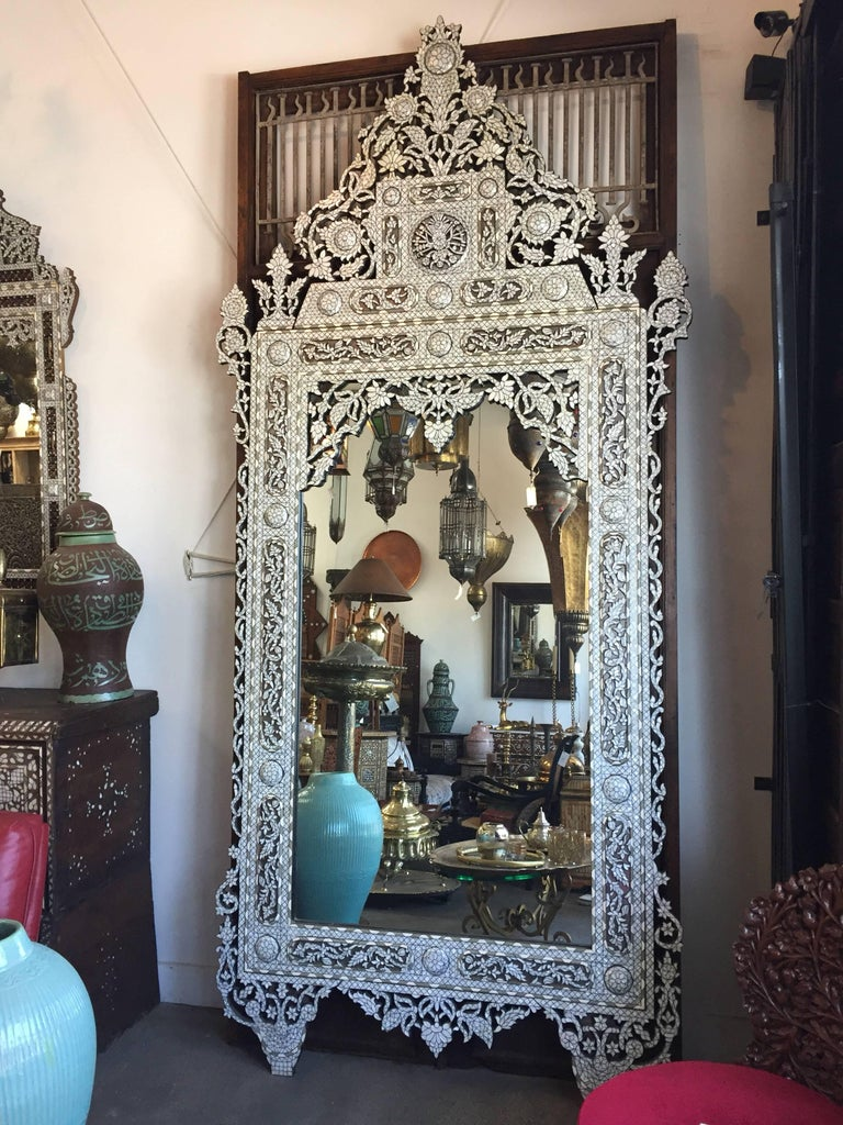 Syrian White Inlay Mirror Late 20th Century 10ft Height