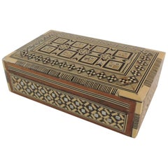 Syrian Wood and Mother of Pearl Inlaid Jewelry Box