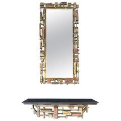 Syroco Brutalist Wall Mirror with Matching Brutalist Shelf Copper, Gold, Black