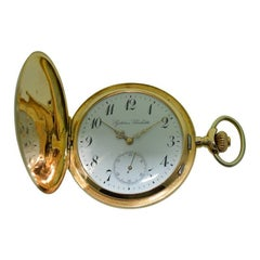 Systeme Glashutte by Lange 14 Karat Yellow Gold Hunters Case Pocket Watch