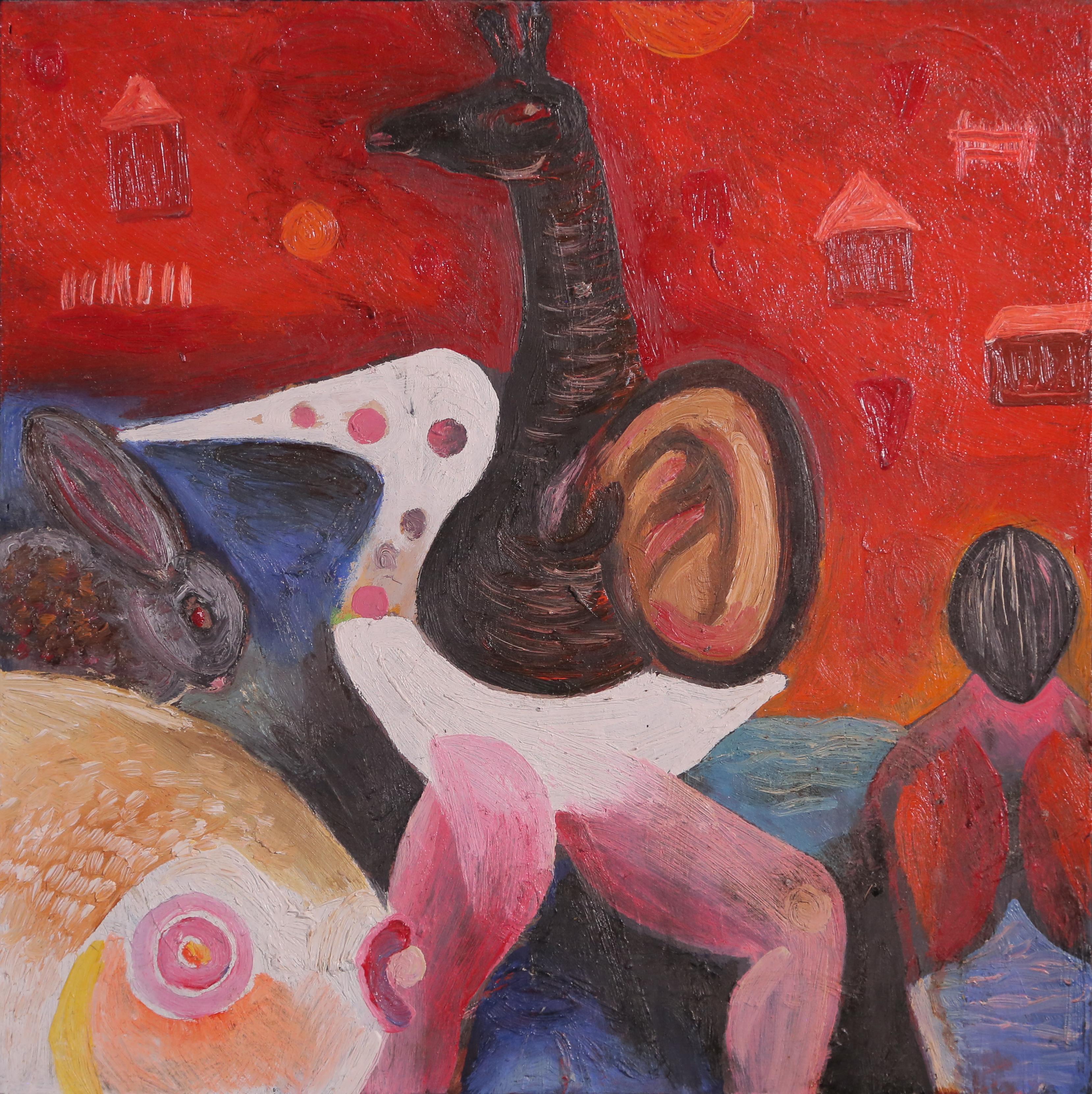 Animals, Szilard Szilagyi, Modern Figurative Oil Animal Painting, Expressionist