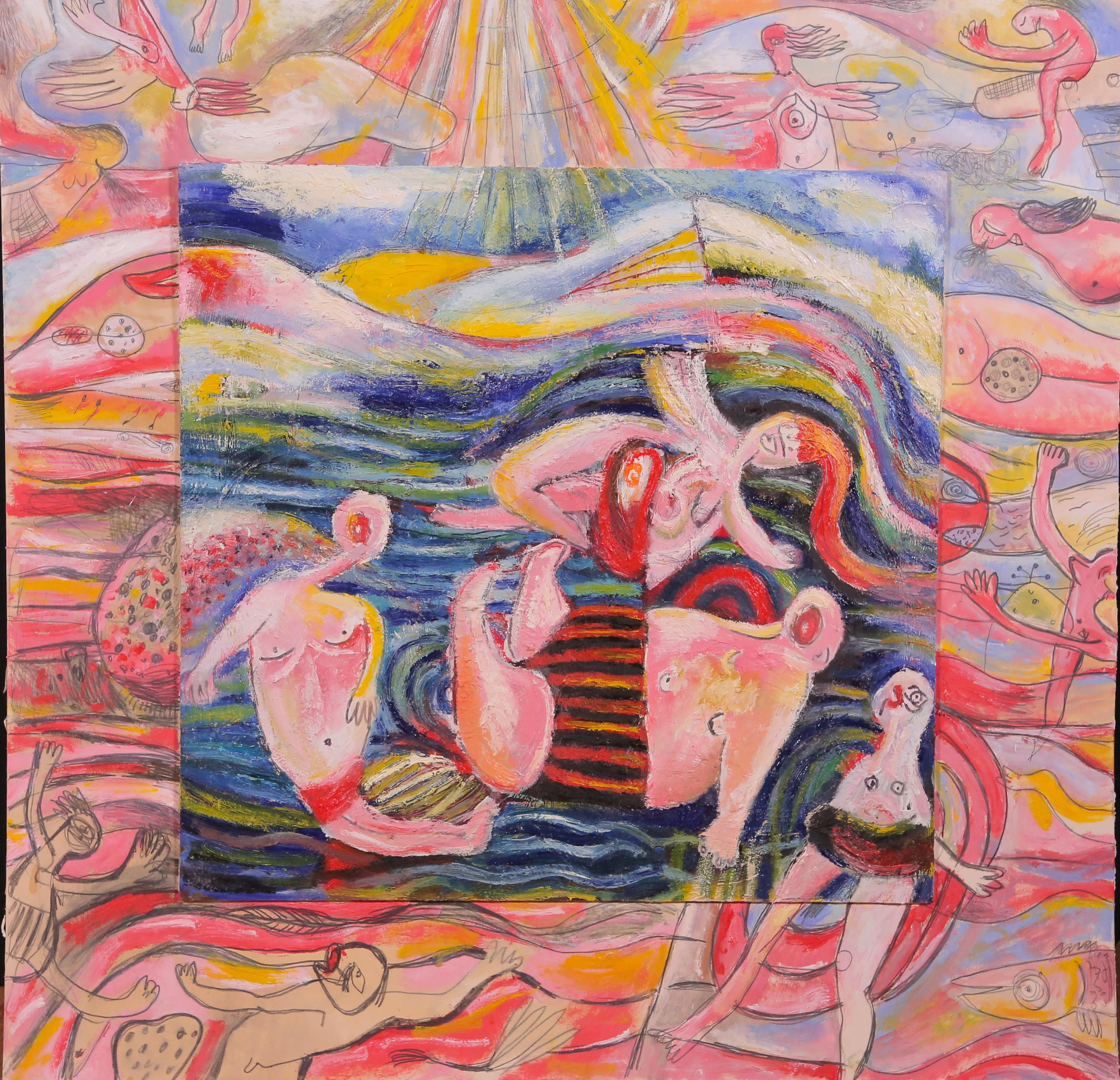 Bather, Szilard Szilagyi, Contemporary Figurative Mixed media, Landscape, Pink