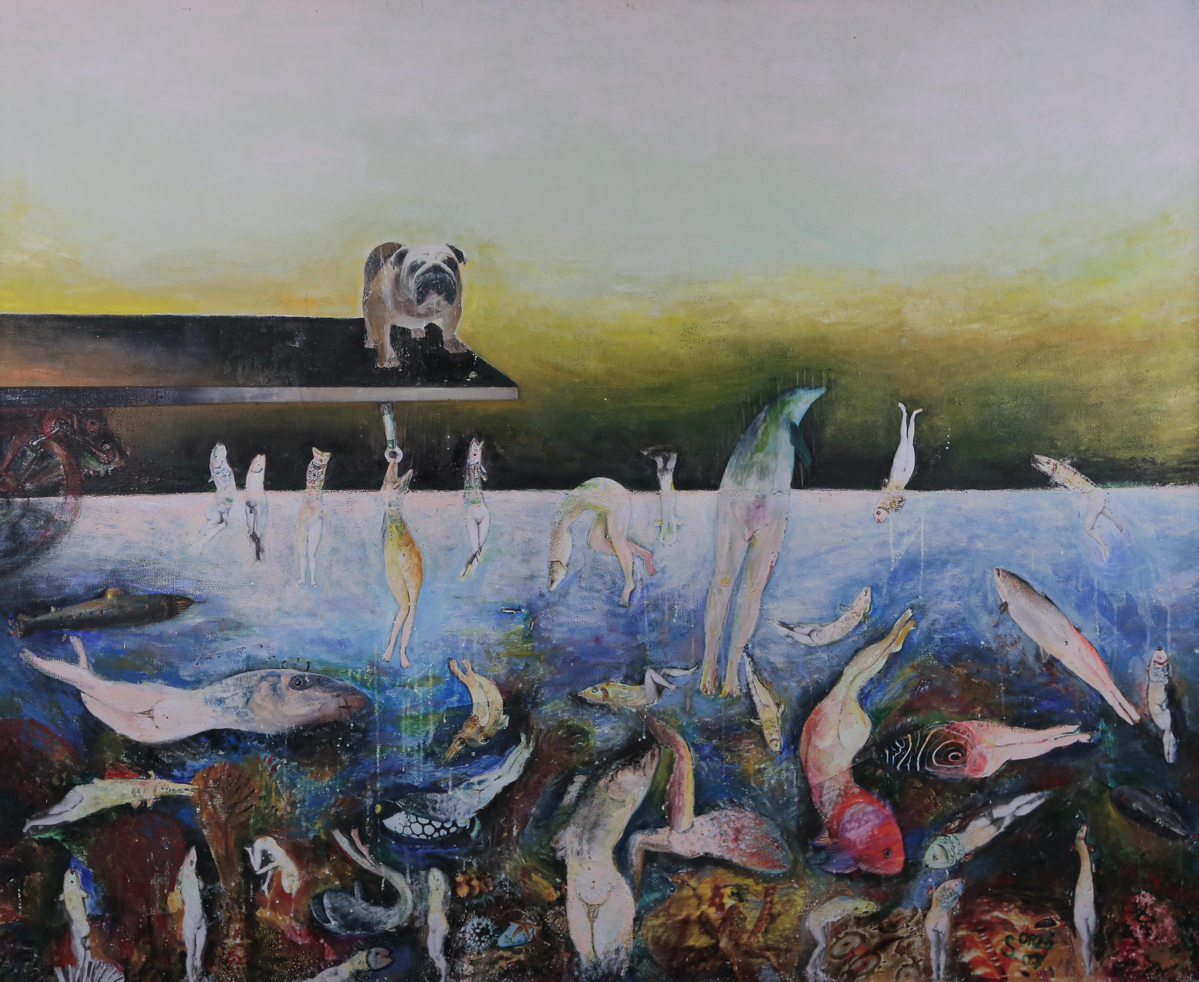 Guardian, Szilard Szilagyi, Figurative Oil Painting, Expressionist, Yellow, Blue
