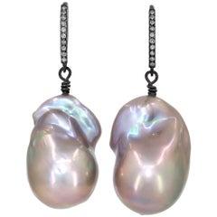 Szor Silver Blue Freshwater Baroque Pearl Diamond Blackened Silver Drop Earrings