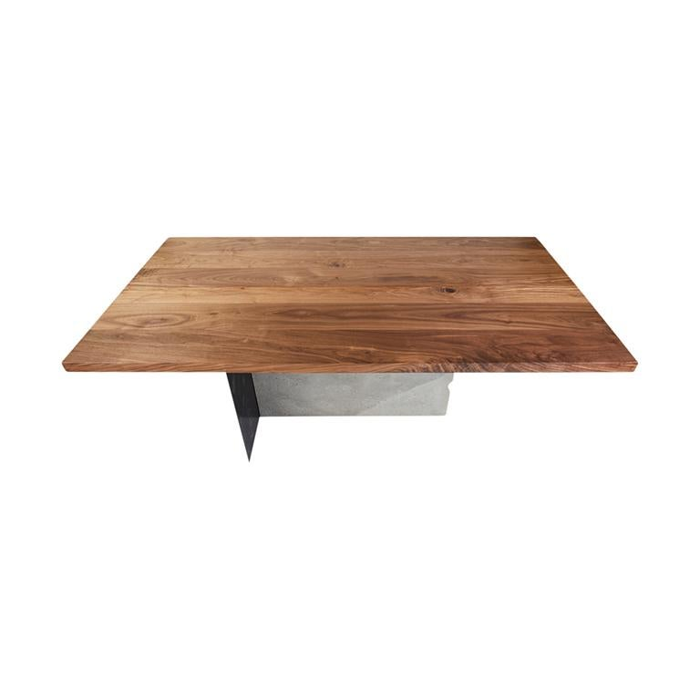 T-1 Dining Table, Walnut Wood Top, Patinated Steel and Cracked Concrete Leg For Sale 3