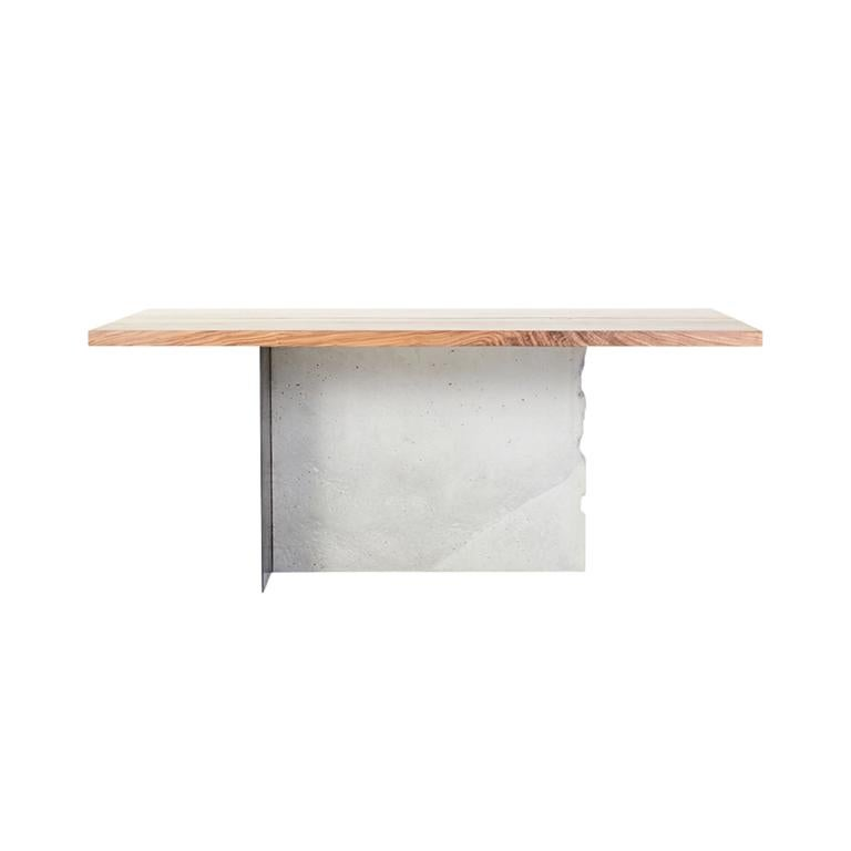 Modern T-1 Dining Table, Walnut Wood Top, Patinated Steel and Cracked Concrete Leg For Sale