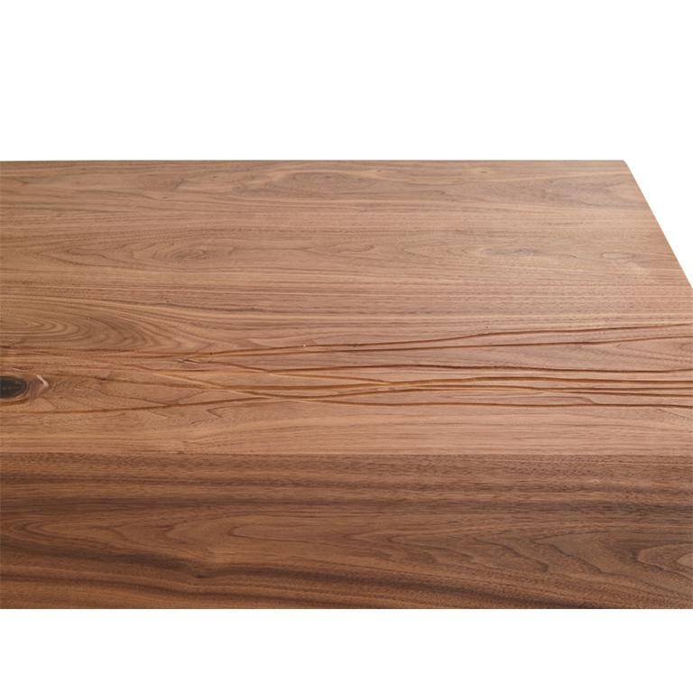 American T-1 Dining Table, Walnut Wood Top, Patinated Steel and Cracked Concrete Leg For Sale
