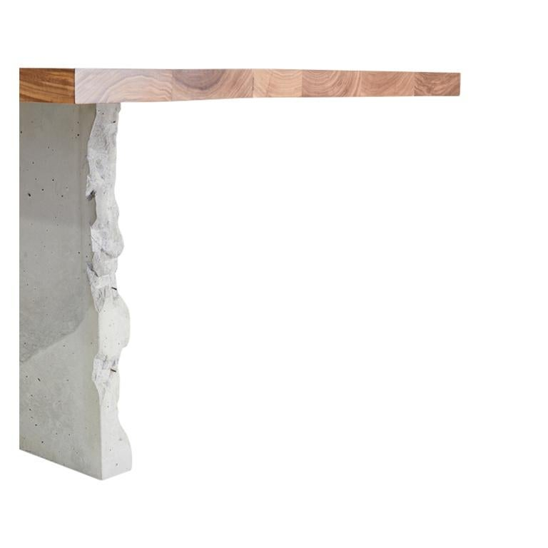 Cast T-1 Dining Table, Walnut Wood Top, Patinated Steel and Cracked Concrete Leg For Sale