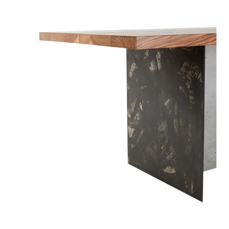 T-1 Dining Table, Walnut Wood Top, Patinated Steel and Cracked Concrete Leg In New Condition For Sale In Brooklyn, NY