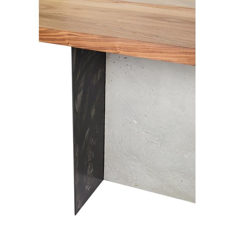 T-1 Dining Table, Walnut Wood Top, Patinated Steel and Cracked Concrete Leg For Sale 1