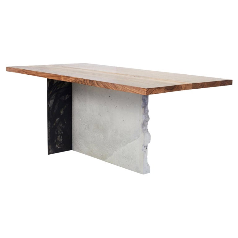 T-1 Dining Table, Walnut Wood Top, Patinated Steel and Cracked Concrete Leg For Sale
