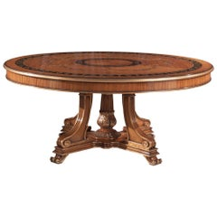 T/5140-180 Italian Wooden Inlaid Dining Table by Zanaboni