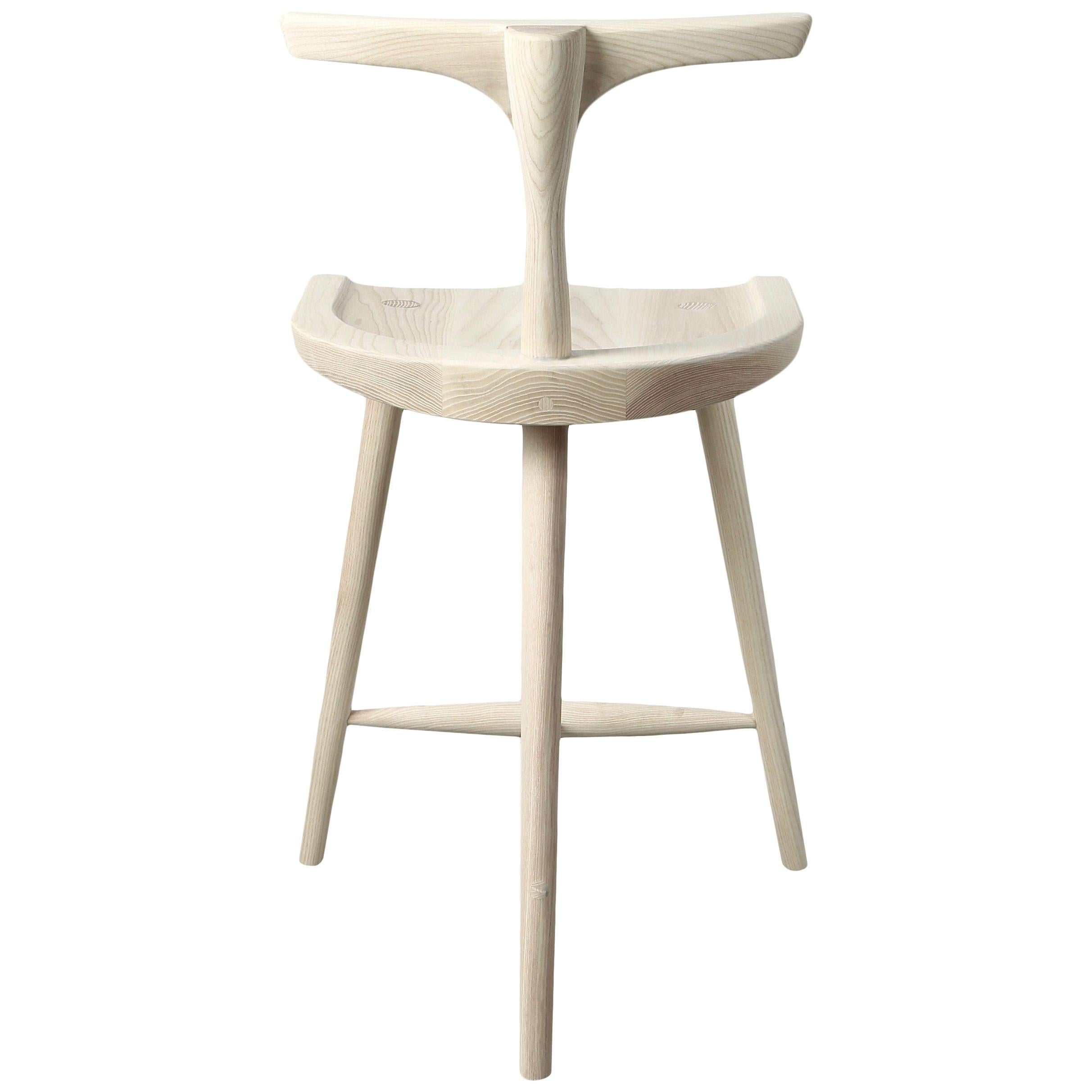 T-Back Krāne Stool in Solid Wood by Möbius Objects