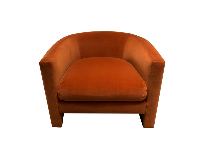 An original t brown studio design, midcentury inspired U-lounge chair, barrel shape. Custom made to order in clients own material.