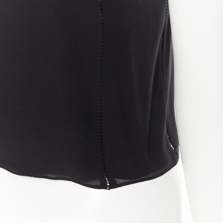 T BY ALEXANDER WANG 100% silk black ladder stitch detail spaghetti strap top XS For Sale 5