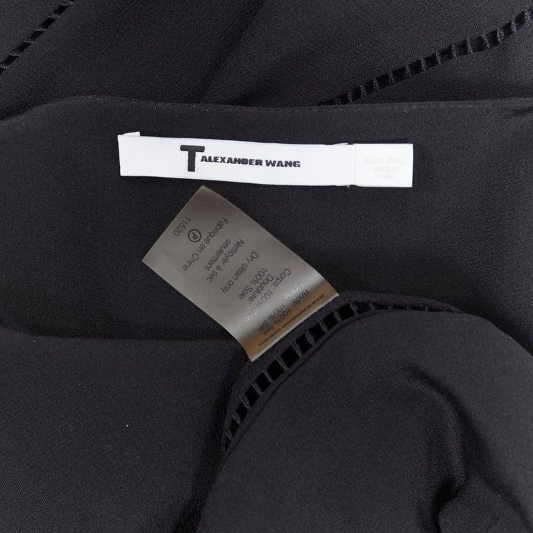 T BY ALEXANDER WANG 100% silk black ladder stitch detail spaghetti strap top XS For Sale 6