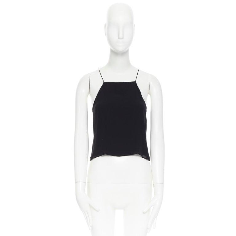 Black T BY ALEXANDER WANG 100% silk black ladder stitch detail spaghetti strap top XS For Sale