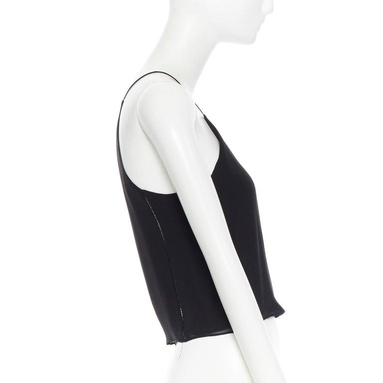Women's T BY ALEXANDER WANG 100% silk black ladder stitch detail spaghetti strap top XS For Sale