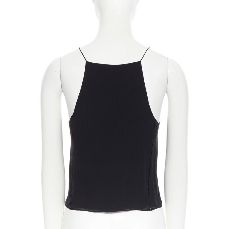 T BY ALEXANDER WANG 100% silk black ladder stitch detail spaghetti strap top XS For Sale 2