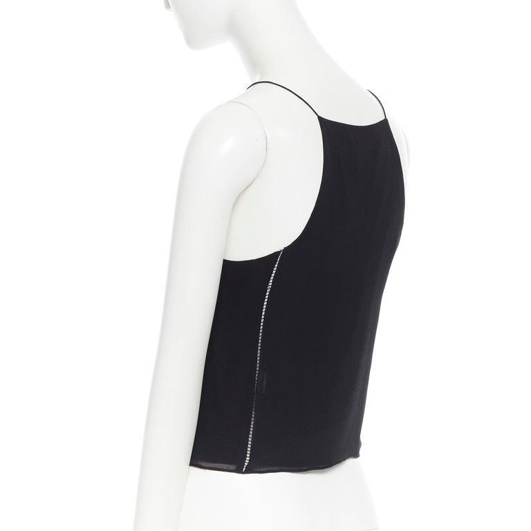T BY ALEXANDER WANG 100% silk black ladder stitch detail spaghetti strap top XS For Sale 3