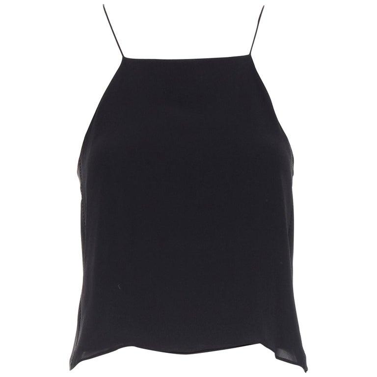 T BY ALEXANDER WANG 100% silk black ladder stitch detail spaghetti strap top XS For Sale