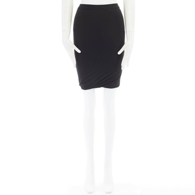 T BY ALEXANDER WANG black modal spandex draped hem elasticated waist skirt XS Brand: T by Alexander Wang Designer: Alexander Wang Model Name / Style: Draped skirt Material: Modal, spandex Color: Black Pattern: Solid Closure: Pull on Extra Detail: