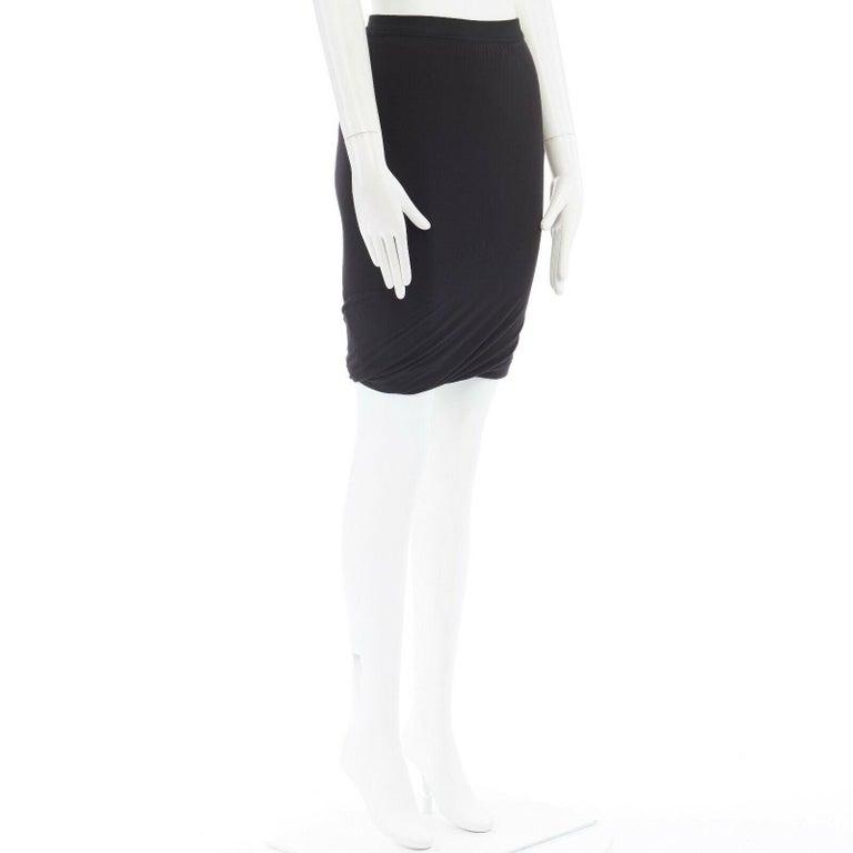 Black T BY ALEXANDER WANG black modal spandex draped hem elasticated waist skirt XS For Sale