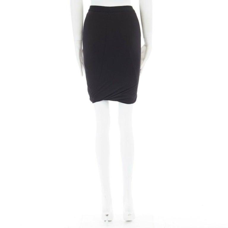 Women's T BY ALEXANDER WANG black modal spandex draped hem elasticated waist skirt XS For Sale