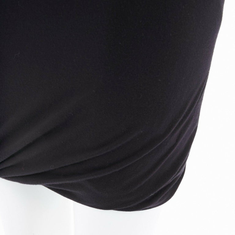 T BY ALEXANDER WANG black modal spandex draped hem elasticated waist skirt XS For Sale 3