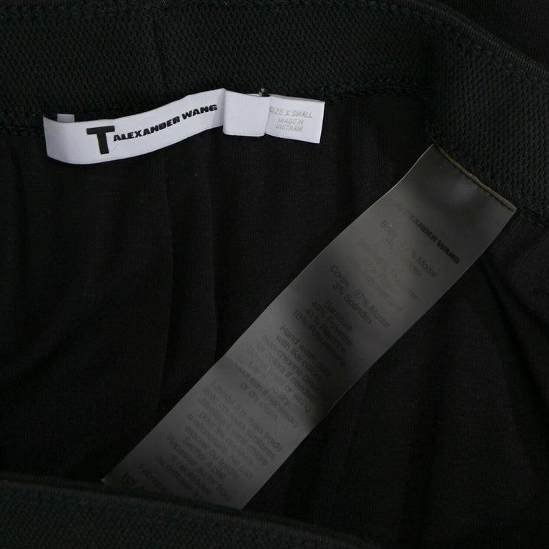 T BY ALEXANDER WANG black modal spandex draped hem elasticated waist skirt XS For Sale 4