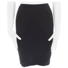 T BY ALEXANDER WANG black modal spandex draped hem elasticated waist skirt XS