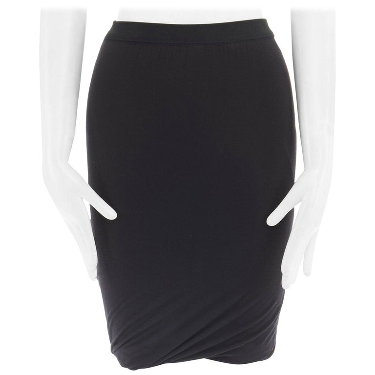 T BY ALEXANDER WANG black modal spandex draped hem elasticated waist skirt XS For Sale