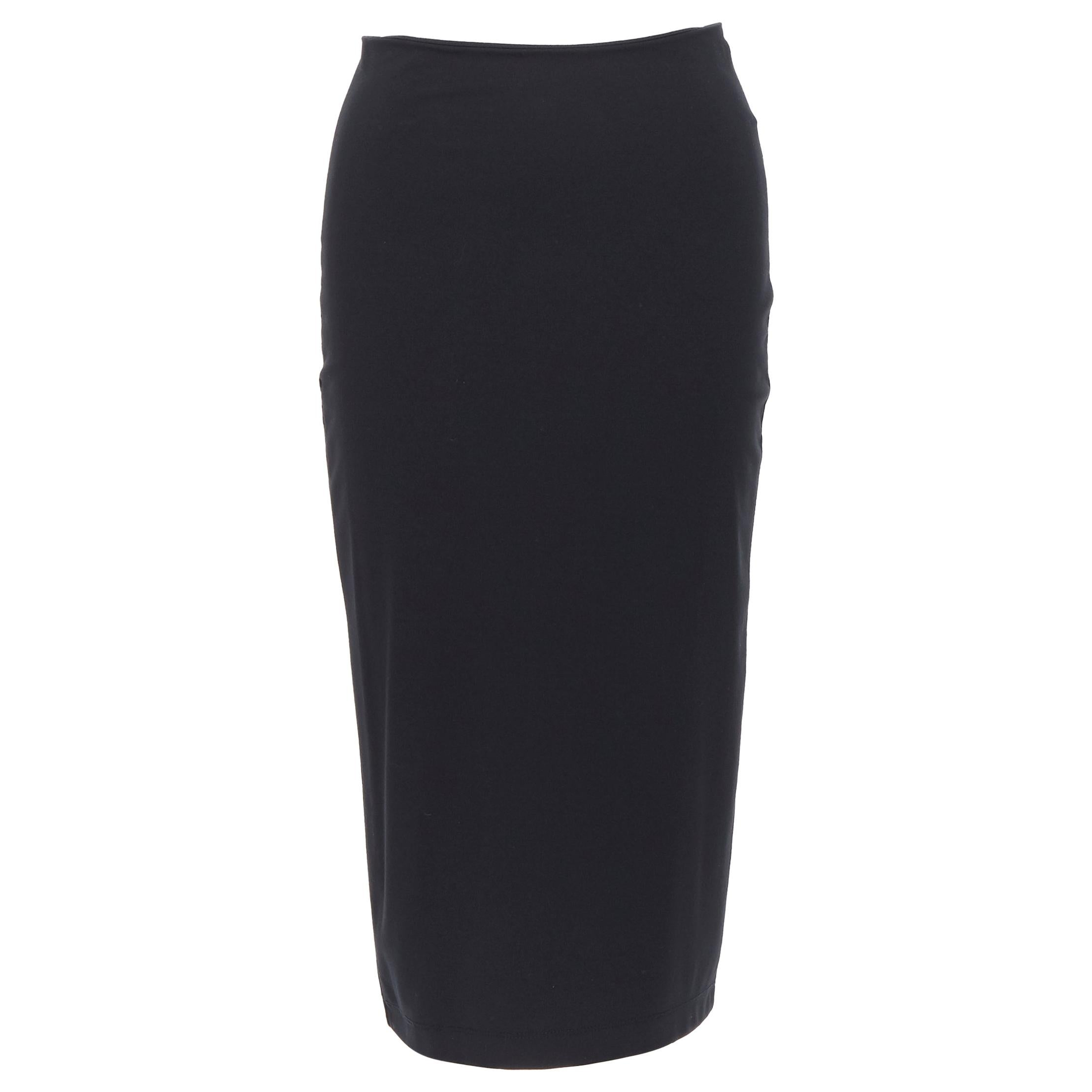 T BY ALEXANDER WANG black rayon polyester center slit stretch pencil skirt S