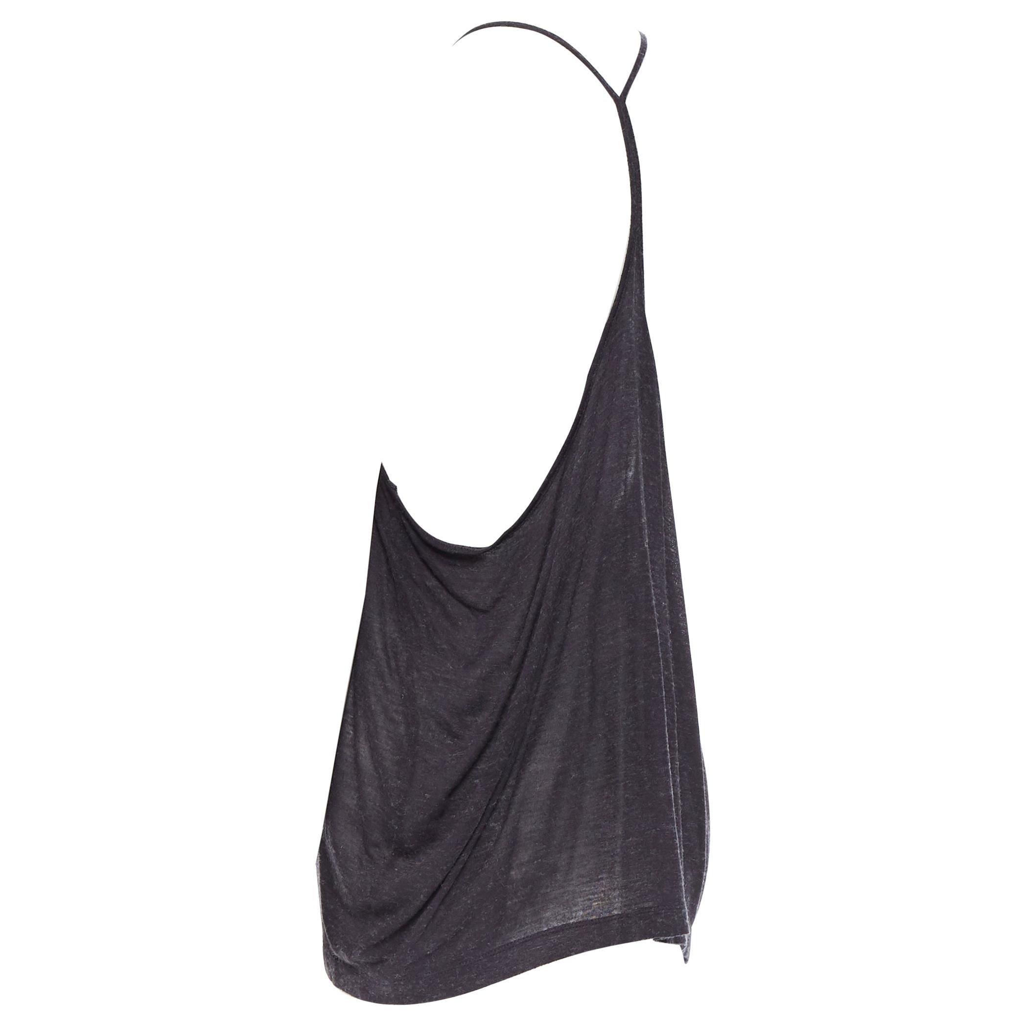 T BY ALEXANDER WANG dark grey acrylic wool scoop neck T-strap tank top XS