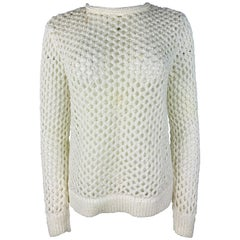 T by Alexander Wang White Knit Sweater Top, Size Small