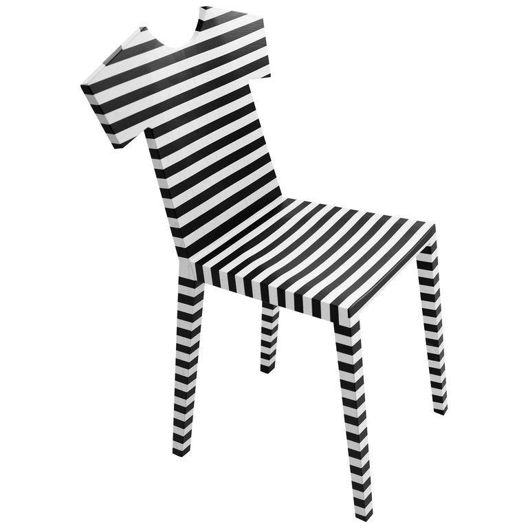 T-Chair in Black and White Stripes by Annebet Philps & Mogg For Sale