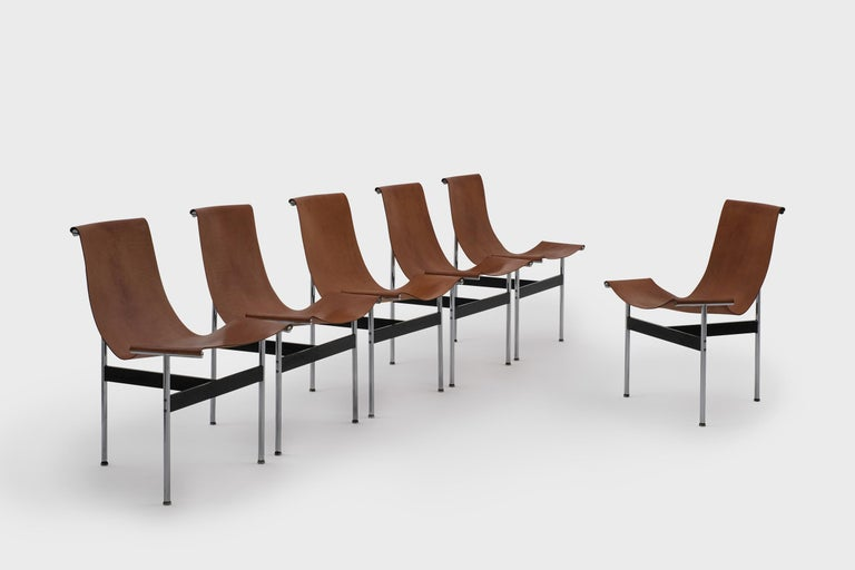 Set of six T-chairs dining chairs by William Katavolos, Ross Littell and Douglas Kelley, 1952. This is the European production; produced by ICF De Padova, the American production was made by Laverne International. Very strong sculptural and