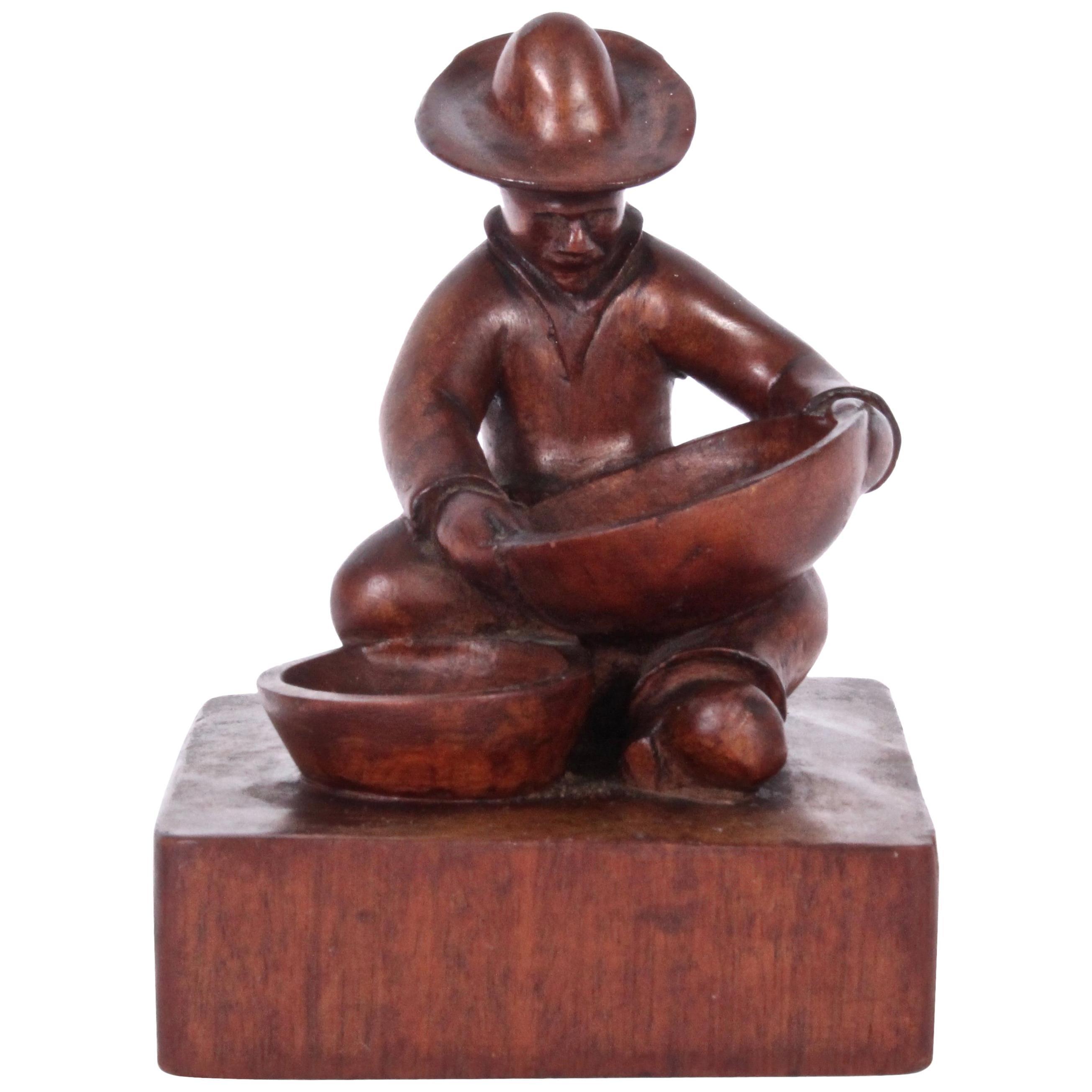 "T. D. Somes ""Man with Two Bowls"" Mahogany Folk Art Table Sculpture, circa 1930"