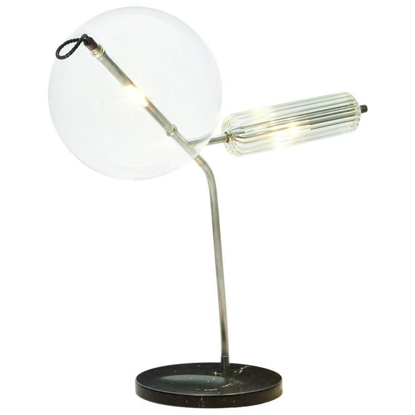 T-Double Special Marble Base Table Lamp in Silver Tarnished Brass Finish