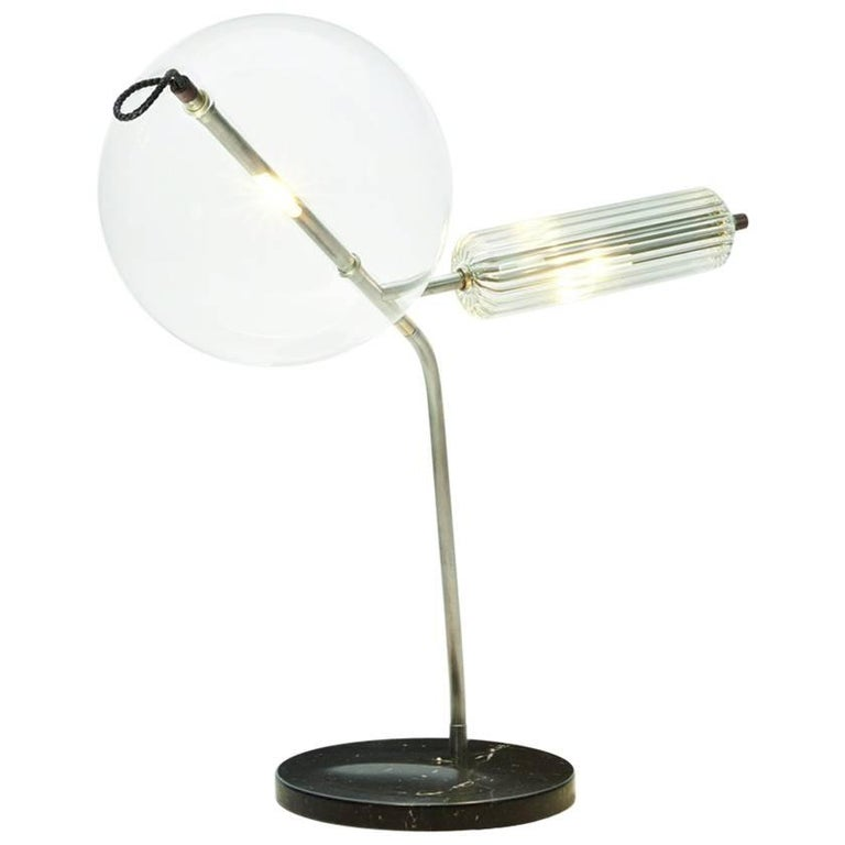T Double Special Marble Base Table Lamp In Silver Tarnished Brass