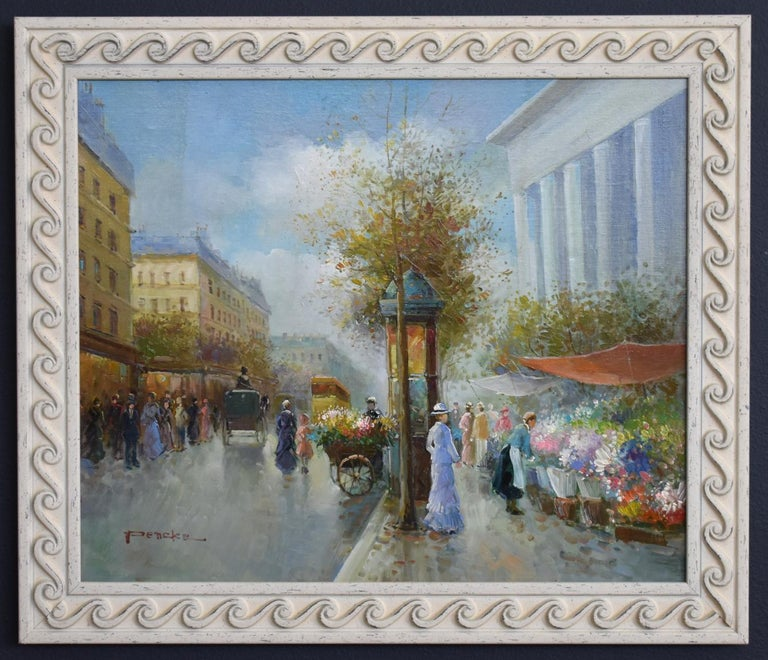 FRENCH STREET SCENE POSSIBLY PARIS FLOWER VENDORS - Painting by T.E. Pencke