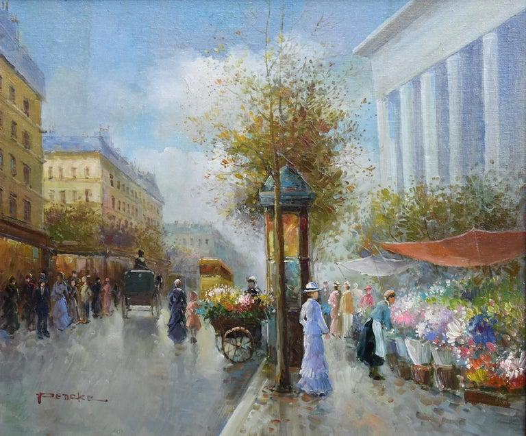 T.E. Pencke Landscape Painting - FRENCH STREET SCENE POSSIBLY PARIS FLOWER VENDORS