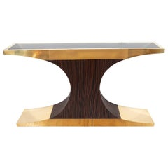T-Form Brass, Zebra Wood and Lucite Console