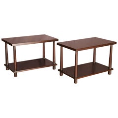 T .H. Robsjohn-Gibbings Pair of Reverse Tapper Side Tables
