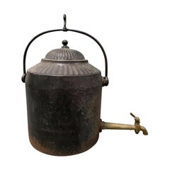 T. Holcroft and Sons Late 19th Century English Cast Iron Kettle with Lid and Tap